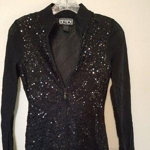 Berek black sequin sheer zip up top jacket
